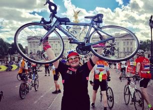 Paula flying the female flag on Dallaglio Cycle Slam