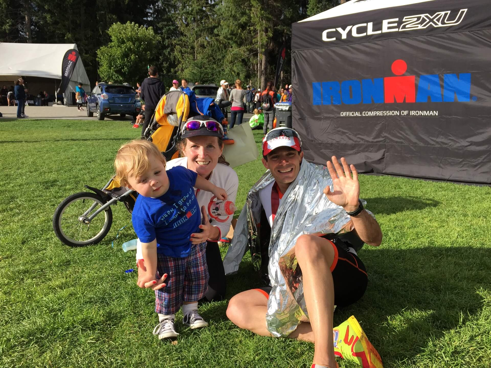 CEO Geoff, his wife and our Founder Caoimhe and their first son Alex at the finish of Ironman Canada in 2015. Geoff suffered a puncture and missed out on World Championship qualification